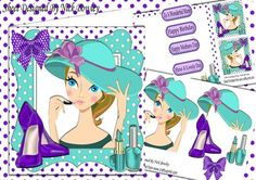 Trendy Lady in her turq hat with shoes 8x8 mini kit on Craftsuprint - Add To Basket!