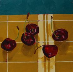 Party of Five Oil on Panel Be Still, Still Life, Cherries, Mustard, Oil, Gallery, Party, Painting, Maraschino Cherries
