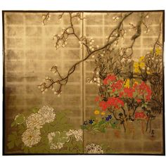 """Japanese Folding Screen. Summer Flowers on Silver. Second half of 19th century. 67 ¼"""" high x 74 ½"""" wide."""