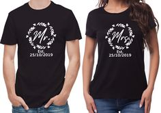 T-Shirts set. His and her set, with custom wedding date. Newly weds, Husband and wife by SoulGoldTees on Etsy New Baby Announcements, Custom Items, Newlyweds, Free Uk, Husband, T Shirts For Women, Lady, Mens Tops, Clothes