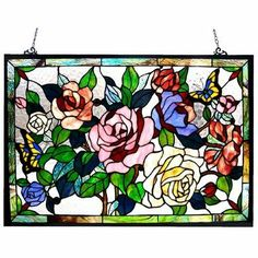 Tiffany Style Roses / Butterflies Design Window Panel by Chloe Lighting, Bought this for my kitchen window.