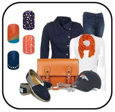 Denver Broncos Gameday Outfit - Jamberry Nail Wraps    http://vandeloonails.jamberrynails.net/