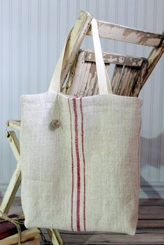 Vintage European Grain Sack Tote Bag Red by SuttonPlaceDesigns