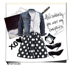 """""""Black Polka Dot Skirt with Shein"""" by bedazzledwithalaina ❤ liked on Polyvore featuring Parker, Polaroid, maurices, VILA, Comeco, Sheinside and contestentry"""
