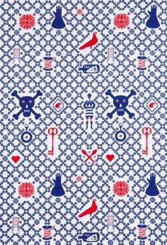 Skulls and craft materials. Detail from a design from a range exclusively created for Tate Shop to coincide with the British Folk Art exhibition in 2014.