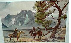 "CONRAD SCHWIERING RARE WESTERN LITHOGRAPH ""HORSE TALK""   LITHOGRAPH 1950'S  GRAND TETON NATIONAL PARK, WYOMING   Conrad Schwiering know as ""CONNIE"" SCHWIERING (1916-1986) lived..."