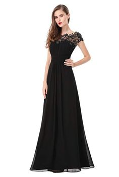 Ever-Pretty Women's Elegant Long Cap Sleeve Lace Neckline Formal Evening Prom Mother of the Bride Maxi Dresses for Women 09993 (Black 4 US) Evening Gowns With Sleeves, Chiffon Evening Dresses, Maxi Dresses, Gown Dress, Bride Dresses, Dress Lace, Bodycon Dress Parties, Prom Party Dresses, Prom Gowns