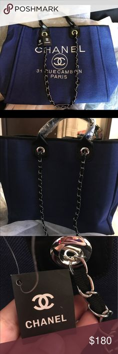 Chanel blue tote XL Chanel shopping tote This is NON original price reflects it. Some bags are just affordable for others. Please ask questions before purchasing but please don't ask obvious questions. Serious buyers only. I have 1:1 and authentic grade. Please read descriptions to know which quality the bag is. Thanks. $140 if paid through WU. Shipped same day. Or next morning. You should receive bag within 3 days. Bags