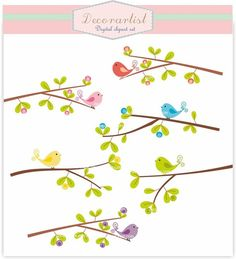 Birds clip art. flowers clip art birds n branch 2. by decorartist, $4.50