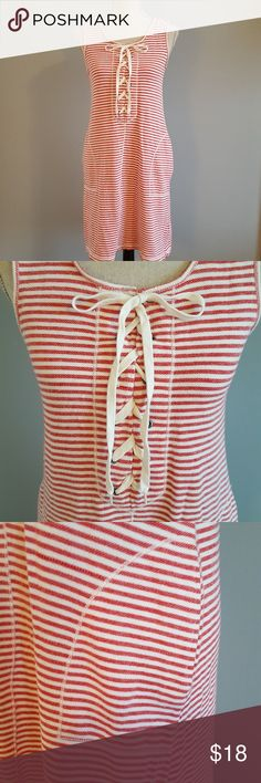 "Max Studio Red & White Striped Cotton Summer Dress EUC ** Max Studio Red and White Cotton Knit Summer Dress. Perfect for the Beach or the pool as a cover up or wear it with cute flats as a casual dress. Laces up the front. Fabric is 100% cotton...feels like a polo shirt. 17"" armpit to armpit 36"" shoulder to hem Max Studio Dresses"