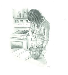 Drawing of Emily Hilliard of Nothing in the House by Molly Reeder