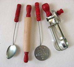 Lot of 4 Different 1950's Vintage Child Size Kitchen Utensils w Red Wooden Handles