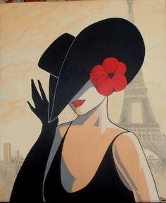 Sjieke Dame in Parijs. Acryl op doek. 50 x 60cm. € 125.- Silhouette Painting, Fashion Cover, Victorian Women, Drawing People, Rock Art, Cute Pictures, Watercolor Paintings, Art Drawings, Applique
