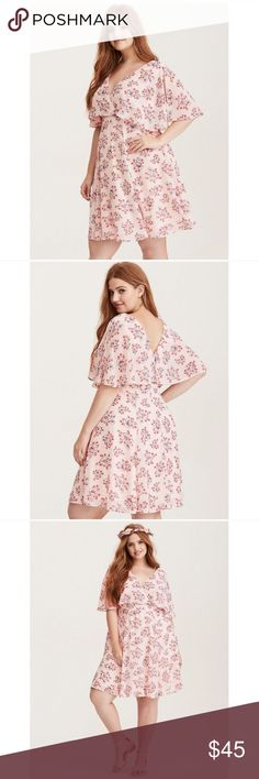 torrid Blush Floral Print Chiffon Skater Dress Never worn Blush Floral Print Chiffon Skater Dress This dress? It's a girl thing (a very girly thing). Romantic details are everywhere - from the floaty split sleeves to the busty surplice neckline, to the hue and print. Chiffon fabricSurplice neckSplit sleevesFitted waistMini lengthZip back NWOT. torrid Dresses