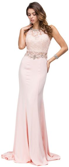 Dancing Queen - Lace Applique Beaded Bodice Long Prom Dress 9763 , (affiliate)
