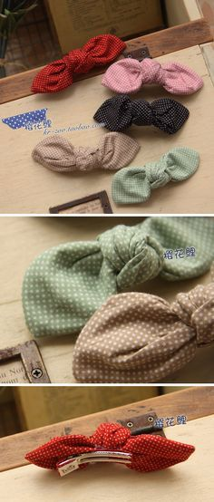 Vintage hair clips--Link leads to a page in Chinese or something...wouldn't be hard to make these...super cute!