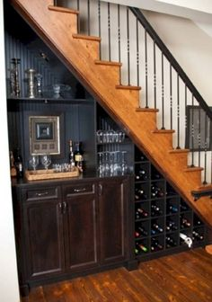 Furniture Traditional House Design With Wood Staircase And Wine Storage Under Stairs Also Minibar Cabinets Resourceful Wine Storage under Stairs in Businesslike Design and Style spiral concrete stair under stairs wine storage ideas precious embellishment Mini Bars, Basement Renovations, Home Remodeling, Basement Ideas, Open Basement, Basement Finishing, Gray Basement, Basement Bar Designs, Basement Layout