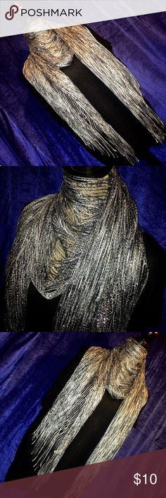Shiny silver fashion scarf - FIRM PRICE Good condition. Worn only a few times, super minor wear from normal use. Bought from a department store, tagged as Forever 21 for exposure. No trades or lowball offers. Forever 21 Accessories Scarves & Wraps