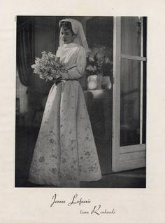 Jeanne Lafaurie 1947 Wedding Dress Fashion Photography