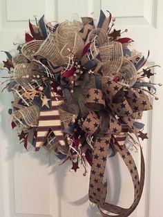 Patriotic Wreath, Primative Americana Wreath, Americana Wreath, Fourth of July Wreath, Memorial Day Wreath, Burlap Wreath, Wreath by RoesWreaths on Etsy https://www.etsy.com/listing/231921259/patriotic-wreath-primative-americana
