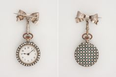 Silver Pocket Watch decorated with micro-pearls and turquoise, circa 1900-1915