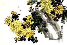 북한 공훈예술가 오영성 그림『화조(문인화)』. 1964년 평양시 중구역에서 출생하여 평양미술대학 조선화학부를 졸업한 후 만수대창작사 조선화창작단에서 몰골기법을 위주로 한 다양한 조선화 기법으로 그린 그의 작품들은 아름답고 선명