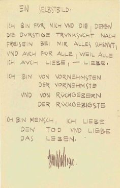 Egon Schiele - Selbstbild (Self Portrait) - poem from 1910. From the Leopold Museum collection.