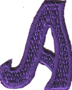 """[Single Count] Custom and Unique (2 1/8"""" by 1 1/2"""" Inches) American Alphabet Cool Script Bold Fancy Letter A Iron On Embroidered Applique Patch {Purple Color}"""