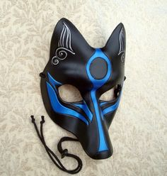 Black and Blue Okami Kitsune Mask... Japanese Fox Leather Mask masquerade costume cosplay halloween mardi gras burning man