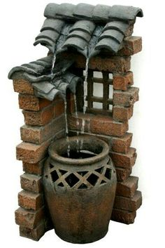 Beckett Corporation 7227110 Spanish Tiles Outdoor Fountain, Patio, Lawn and Garden Diy Water Fountain, Garden Water Fountains, Waterfall Fountain, Fountain Garden, Water Garden, Fountain Design, Spanish Tile, Fairy Doors, Miniature Houses