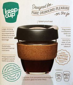 Limited Edition Glass and Cork KeepCup - Transcend Coffee