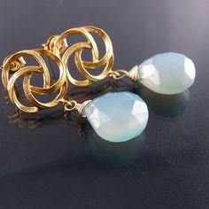 Sea Blue Chalcedony Earrings - Mari Earrings Spring Wedding Collection. $25.00, via Etsy.