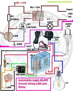 icu ~ Automatic Light OnOff Circuit Using LDR and Relay Electronics Engineering Projects, Electrical Projects, Electronic Engineering, Arduino Projects, Hobby Electronics, Electronics Components, Electronics Gadgets, Computer Robot, Electronic Circuit Design