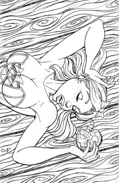 Coloring for adults - Kleuren voor volwassenen Coloring Pages For Grown Ups, Adult Coloring Book Pages, Printable Adult Coloring Pages, Coloring Pages To Print, Free Coloring Pages, Coloring Books, Sexy Drawings, Art Drawings, Fairy Coloring