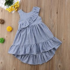 Just look, that`s outstanding! Fashion Kids, Latest Fashion For Women, Cotton Dresses, Blue Dresses, Summer Dresses, Baby Galerie, Marine Uniform, Summer Stripes, Ball Gown Dresses