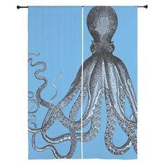 Vintage Octopus in Duo blue tones Curtains