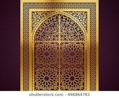 Ramadan background with golden arch, wit closed doors, with golden arabic pattern, background for holy month of muslim community Ramadan Kareem, EPS 10 contains transparency Architecture Courtyard, Islamic Architecture, Moroccan Art, Moroccan Style, Art Deco Borders, Jaali Design, Mandir Design, Ramadan Background, Wooden Pallet Projects