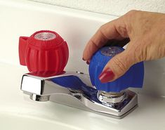 Great Grips Faucet Grips not only help those with limited hand strength, they also reduce confusion over hot and cold faucets.