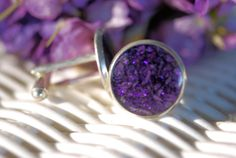 Cufflink made with dried flowers by MyersCottage on Etsy, $15.99
