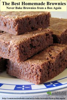 I had tried several brownie recipes, and could never get that crisp edged/soft center combo that makes brownies oh-so-good.  Then I found this recipe.  I have not purchased a box mix since.: