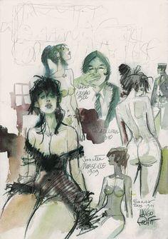 Sans titre. Les Femmes de Corto Maltese. Projet de couverture, 1981. (aquarelle…