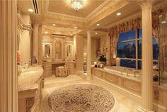 Traditional Master Bathroom with flush light & limestone floors (banheiro do quarto de ospede)