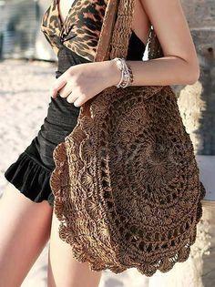 Crochet Flower Knit Bohemia Bag - Women Dresses for Every Age! Peacock Crochet, Bead Crochet, Crochet Flowers, Bohemia Bag, Straw Weaving, Knitted Bags, Crochet Fashion, One Piece Swimwear, Crochet Stitches