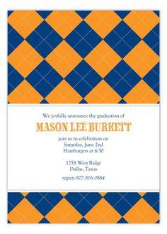Blue and Orange Argyle Invitation