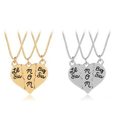 2Pcs//Set Her One His Only Carved Couple Heart Pendant Matching Necklace Reli