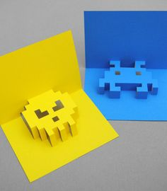 8-Bit Pop-up Space Invader Cards