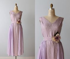 # 1 for bridesmaid with lavender floral hat .....Formal Dress / 1960s Vintage Dress /  by TheVintageMistress, $148.00