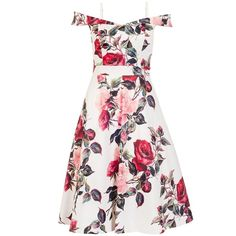 Cream And Red Floral Print Bardot Prom Dress ($96) ❤ liked on Polyvore featuring dresses, cream floral dress, floral print dress, white dresses, floral day dress and cream prom dresses