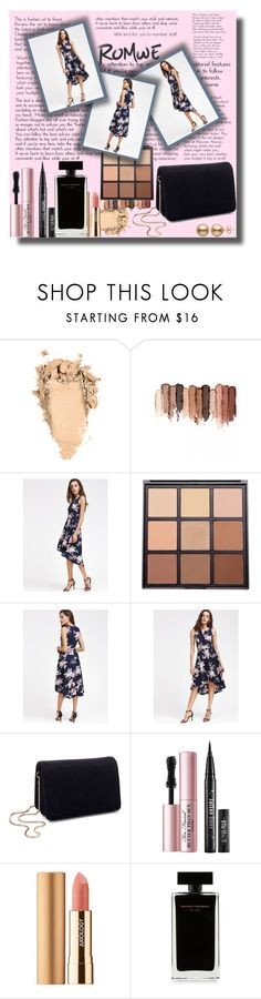 """""""V Neckline Floral Print Dip Hem Dress  - ROMWE Contest!"""" by sarahguo ❤ liked on Polyvore featuring tarte, Morphe, Miss Selfridge, Too Faced Cosmetics, Axiology and Narciso Rodriguez"""