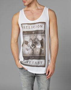 Religion Vest with Rock Gesture Print